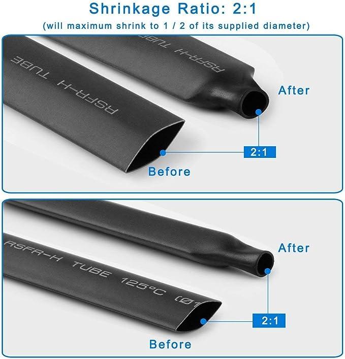 1 rapporto 2:1 2,5 mm 3 mm 10 mm da 1,5 mm Wilkinson.Sales Kit di tubi termo-restringenti da 1 m confezione da 7 6 mm 7 X 1 Meter Kit 5 mm Blue 13 mm