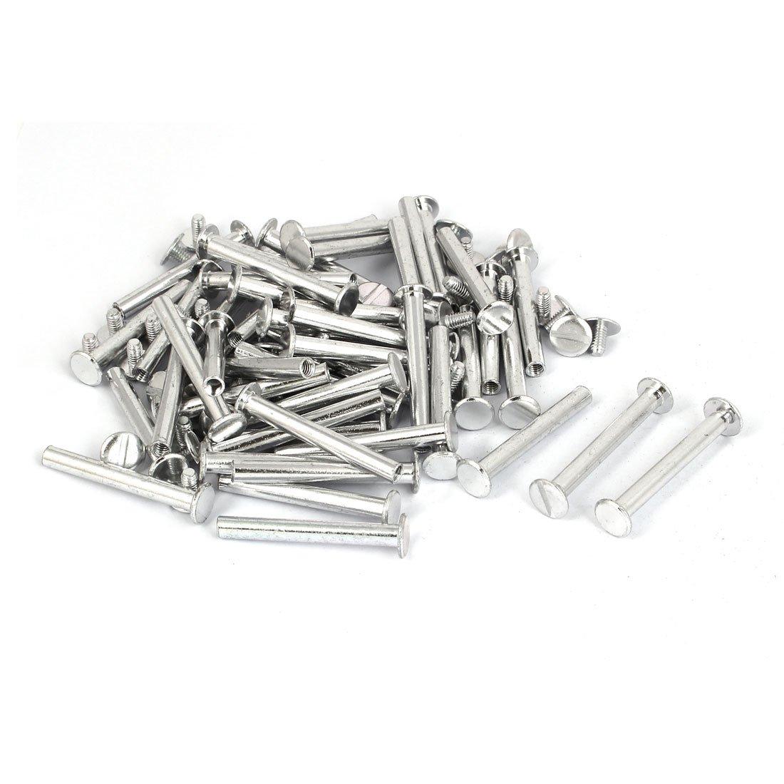 uxcell M5x40mm Photo Albums Scrapbook Aluminum Binding Screw Post Silver Tone 50 Pcs
