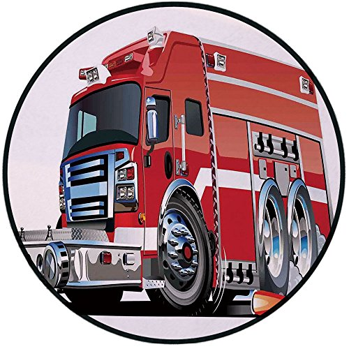 Printing Round Rug,Cars,Big Fire Truck with Emergency Equipments Universal Safety Rescue Team Engine Cartoon Mat Non-Slip Soft Entrance Mat Door Floor Rug Area Rug for Chair Living Room,Red Silver ()