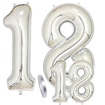 Globos Número 18 Cumpleaños Plata, Helio Globo de Papel ...