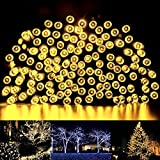 String lights, 33ft Waterproof Outdoor String Lights, Warmwhite Solar String Lights for Outside Garden Patio Yard Christmas Parties(Warmwhite)