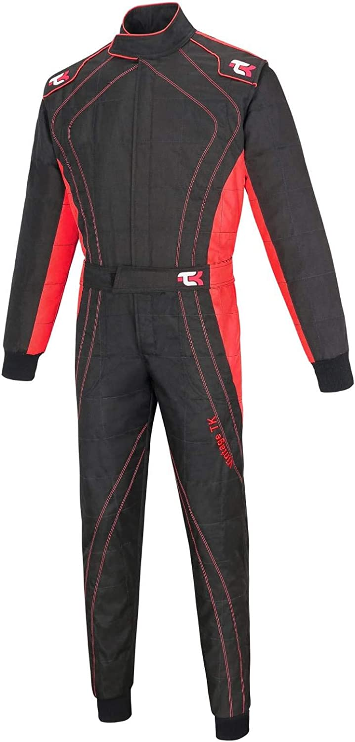 Black /& red, L Adult Karting Suit//Race//Rally One Piece Cordura Suit Go Kart Racing Suit