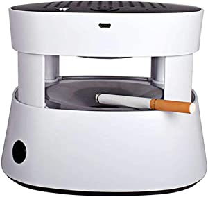 Gasin 3 in 1 Multifunction Ashtray Smokeless Portable Ashtrays Filter USB Rechargeable for Car/Indoor/Outdoor Protect Family Health (white)