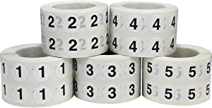 Numbers 1-5 Bulk Pack Office Warehouse Organization Inventory Stickers 1/2 Inch 1,000 Per Roll 5,000 Total Stickers