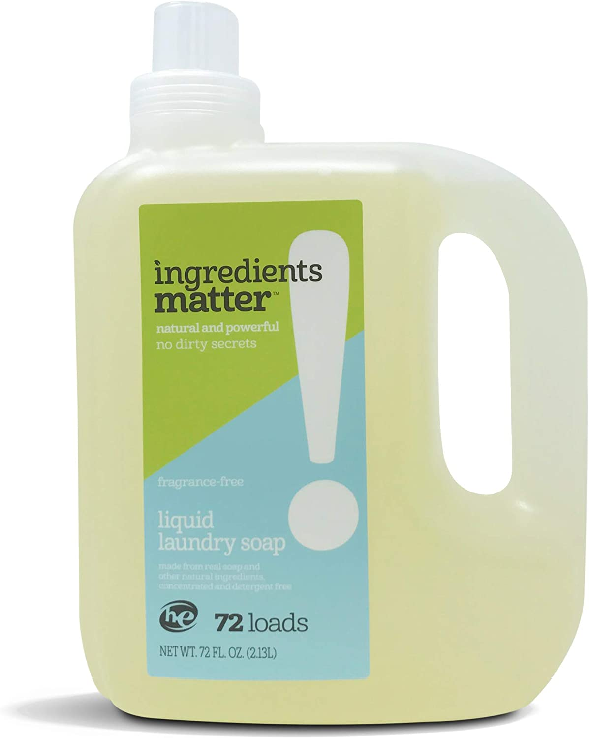 Ingredients Matter Liquid Laundry Soap - Fragrance-Free, 36 fl. oz. 72 Loads HE/Hypoallergenic, Natural, Detergent-Free, Eco-Friendly
