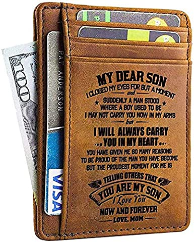 Gift for Son I Will Always Carry You In My Heart Birthday Christmas Gift W04-001-MomSon Engraved Leather Bifold Wallet Mom to Son Men Wallet