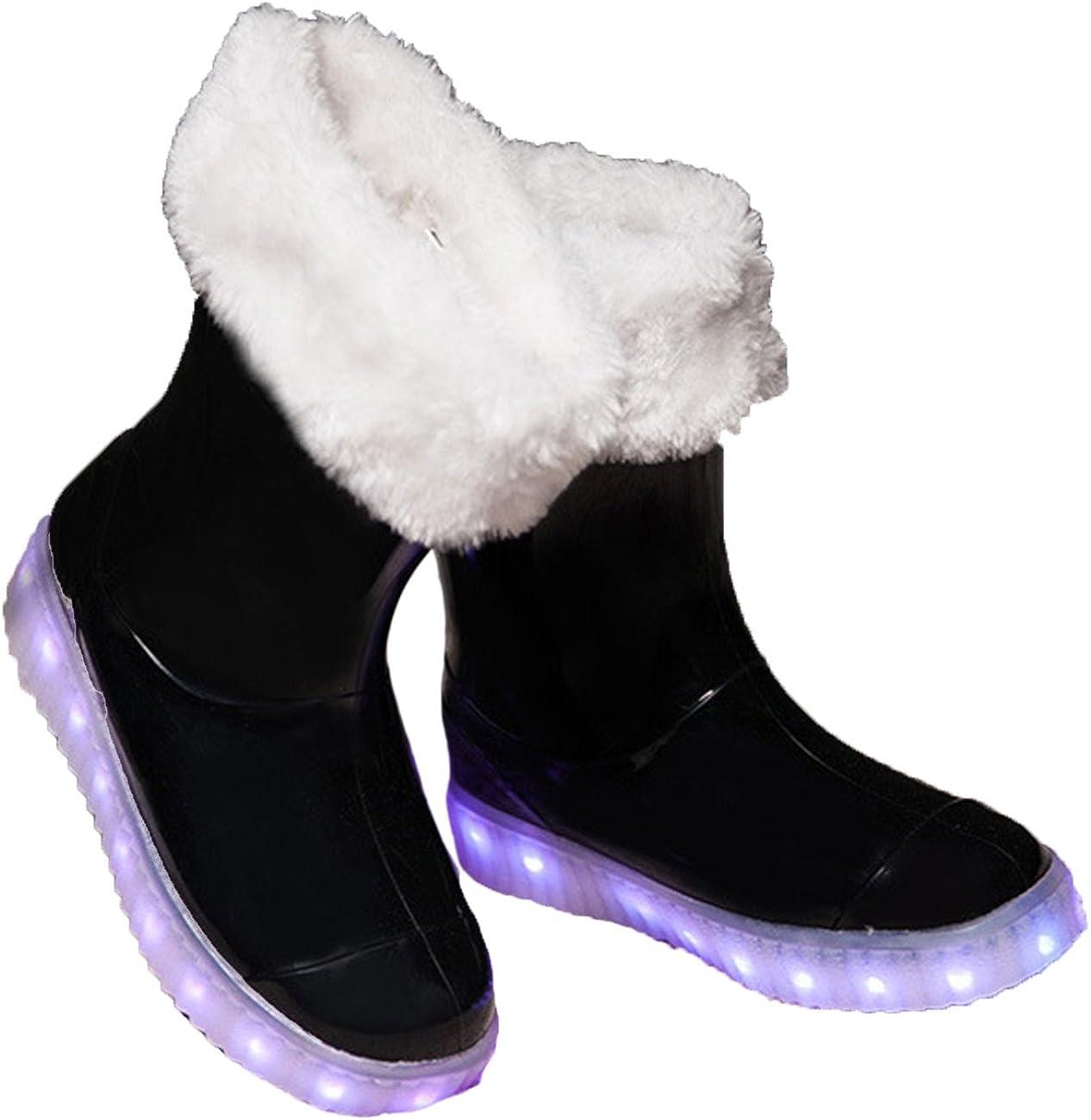 Lemonkid Kids Boys Girls Winter Snow Rain Boots Light up Waterproof LED Shoes
