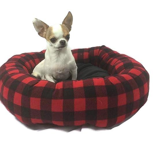 Fine Amazon Com Buffalo Plaid Canadian Lumberjack Round Pet Bed Inzonedesignstudio Interior Chair Design Inzonedesignstudiocom