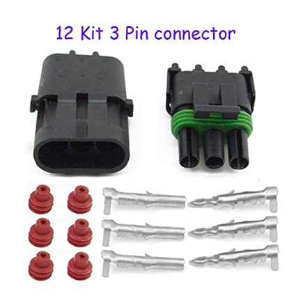 Amazon.com: HIFROM 12 Kit of 3 Pin Way Waterproof Electrical ... on plastic luggage tags, plastic strap click, plastic loop locks,