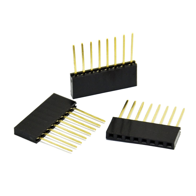 100pcs 8 Pin 2.54 mm Stackable Long Legs Femal Header For Arduino Shield