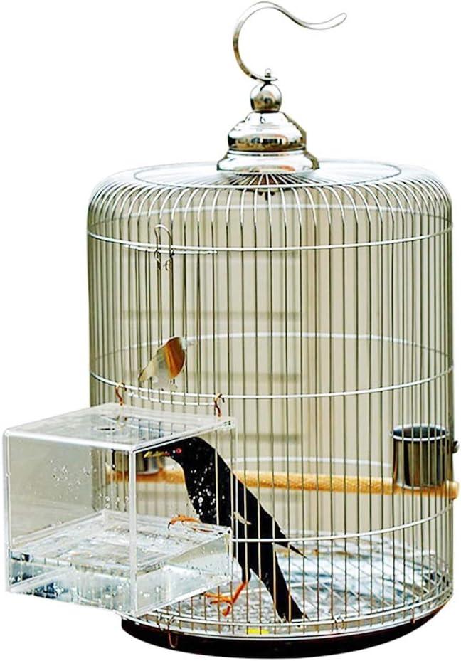 Pet Supplies - Jaula redonda para pájaros, jaula con bañera transparente