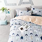 BuLuTu Cotton Arrow Kids Bedding Duvet Cover Sets Queen Grey For Boys Girls Reversible Botanical Teen Bedding Sets Full Zipper Closure For Children,1 Duvet Cover + 2 Pillowcases,Queen