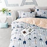 BuLuTu Cotton Kids Bedding Duvet Cover Sets Twin Grey For Boys Girls Leaf Botanical Arrow Teen Bedding Sets Zipper Closure For Children,1 Duvet Cover + 2 Pillowcases,Twin