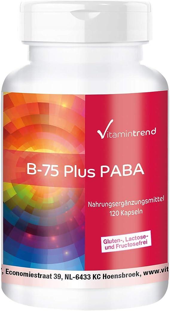 Vitamina B Complex – Complejo de vitamina B B–75 con PABA – Alta concentración – Vegano – 120 cápsulas