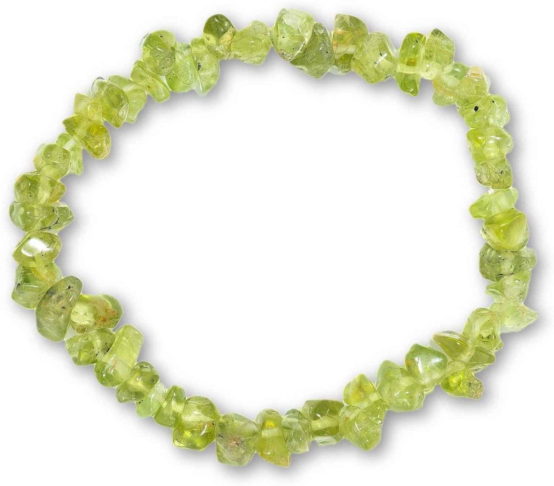 Taddart Minerals – Pulsera verde de piedra preciosa natural peridoto montado en hilo de nailon elástico – hecha a mano