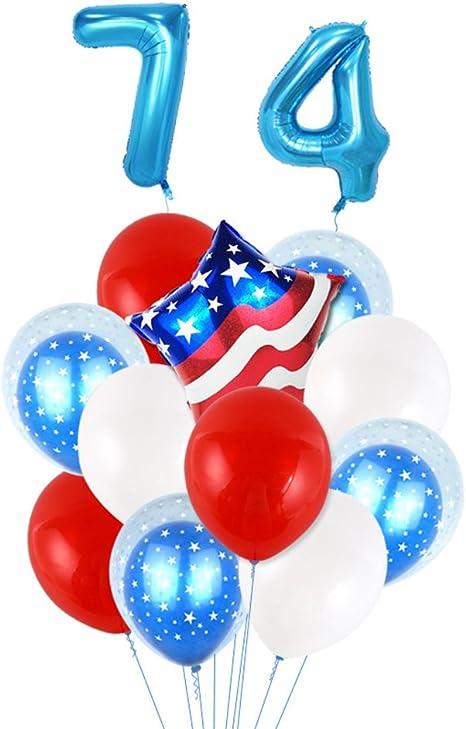 LUOEM Decoración del Globo patriótico de la Bandera Americana para el día de la Independencia del día Nacional el 4 de Julio (números Azules de 32 Pulgadas): Amazon.es: Juguetes y juegos