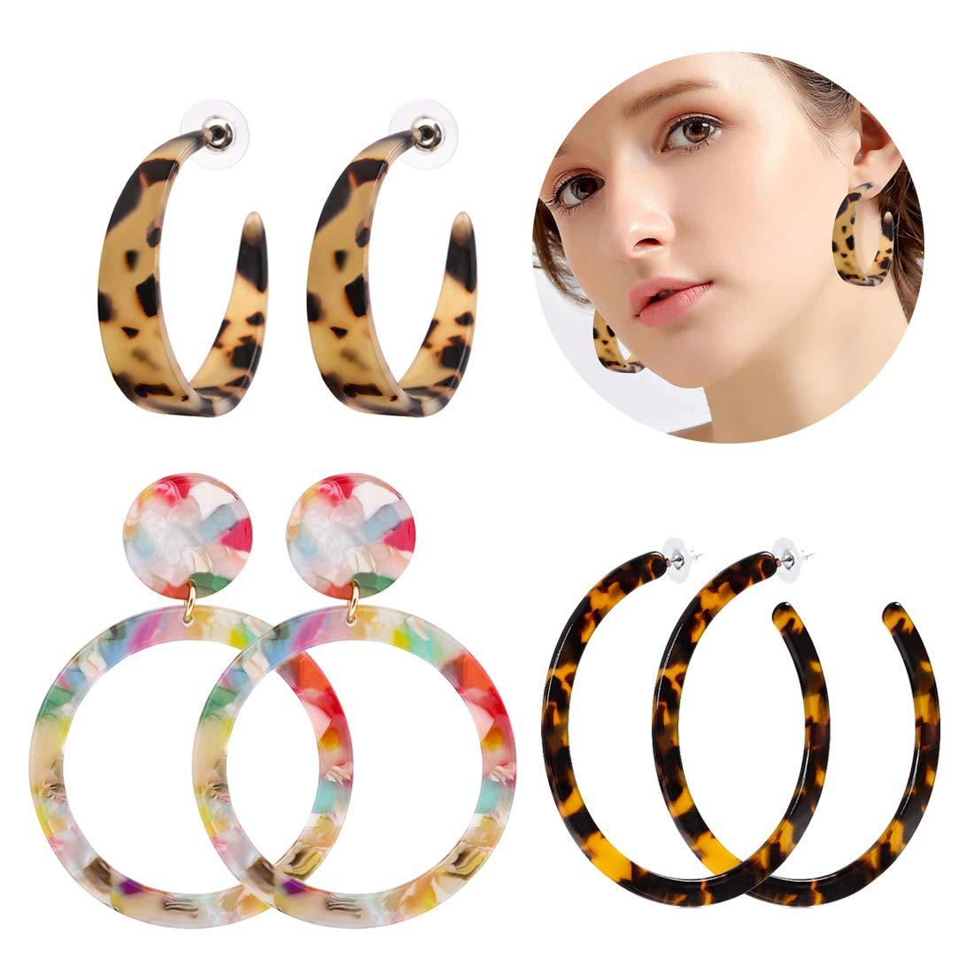 ALEXY Women's Mottled Hoop Earrings Bohemia Acrylic Resin Hoops Stud Earrings (G: 3PCS Set 3)