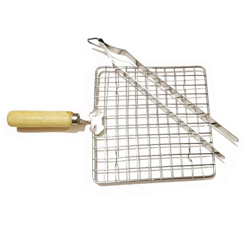 shiv trading Wooden Sqaure Roasting Net with Steel Tong,Stainless Steel Wire Roaster,Stainless Steel Wire Roaster,Wooden Handle Round with Roasting Net,Roasting Net,Papad Jali,Roti Jali,Roaster by shiv trading