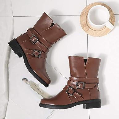 Botas, JiaMeng Botas de Mujer Zapatos Botines Cortos Planos Hebilla Correa Cuero Botas Zapatos Botín: Amazon.es: Ropa y accesorios