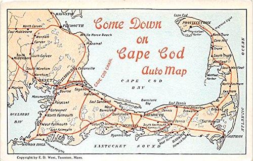 Amazon.com: Auto Map Cape Cod Machusetts Postcard ... on