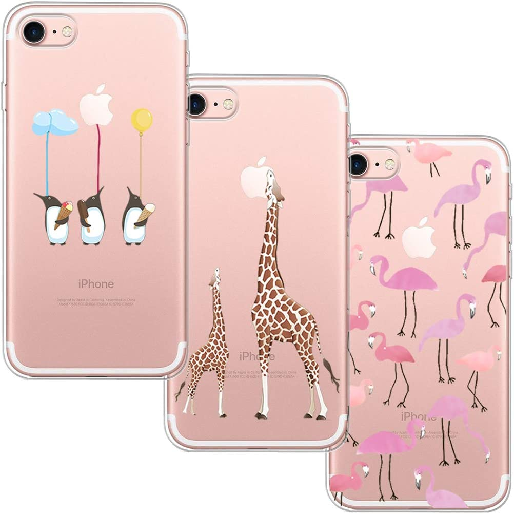 3 Pack] Funda iPhone 7, Funda iPhone 8, Funda de Silicona Blossom01 Ultra Suave Funda TPU Silicona con Dibujo Animado Lindo Para iPhone 7 / 8: Amazon.es: Electrónica
