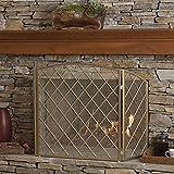 Angella 3 Panelled Gold Iron Fireplace Screen