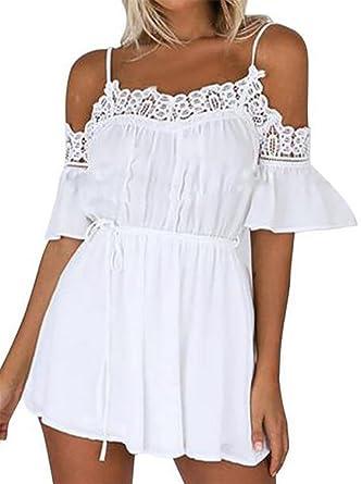 4cb20b974cb Amazon.com  KLJR-Women Cute Beach Cold Shouler Lace Short Jumpsuit Romper   Clothing