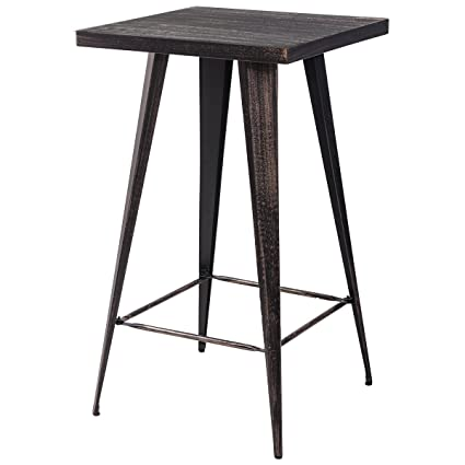 Amazing Merax Rectangular Distressed Metal Bar Table, Pub Table 39 Inch High  (Golden Black