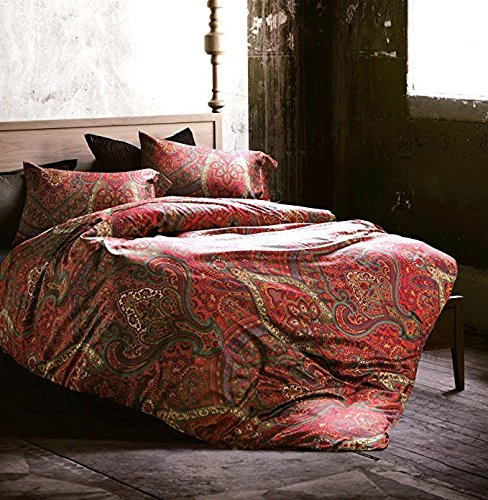 Boho Paisley Print Luxury Duvet Quilt Cover and Shams 3pc Bedding Set Bohemian Damask Medallion 350TC Egyptian Cotton Sateen (King, Spanish Red) (Duvet Curtains And Matching Covers)