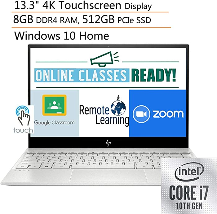 "2020 HP ENVY 13.3"" 4K Ultra HD Touchscreen Laptop Computer, 10th Gen Intel Quard-Core i7 1065G7 up to 3.9GHz, 8GB DDR4 RAM, 512GB PCIe SSD, WiFi 6, Bluetooth 5.0, Silver, Windows 10, iPuzzle Mouse Pad"