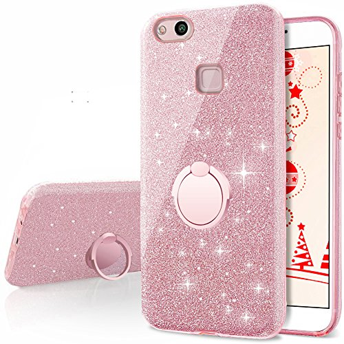 - Huawei P10 Lite Case, Silverback Girls Bling Glitter Sparkle Cute Phone Case With 360 Rotating Ring Stand, Soft TPU Outer Cover + Hard PC Inner Shell Skin for Huawei P10 Lite -Rose Gold