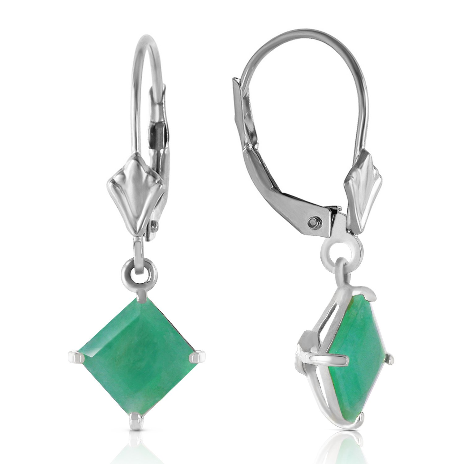 14k White Gold Leverback Earrings with Natural Emerald