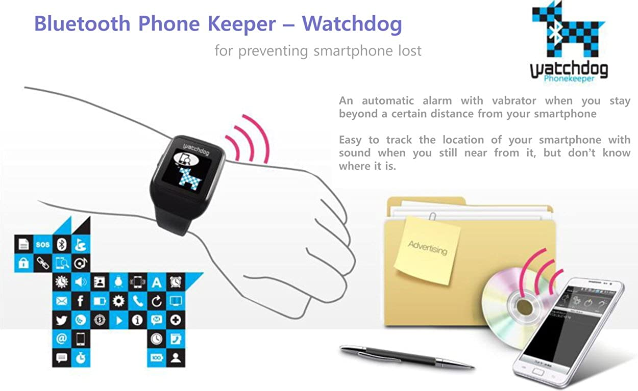 12e6b447b65 Amazon.com  Watchdog BTSW-100 Bluetooth 3.0 Smart Watch for Android Safety  BodyGuard SOS Notice Phone Keeper (Black)  Watches