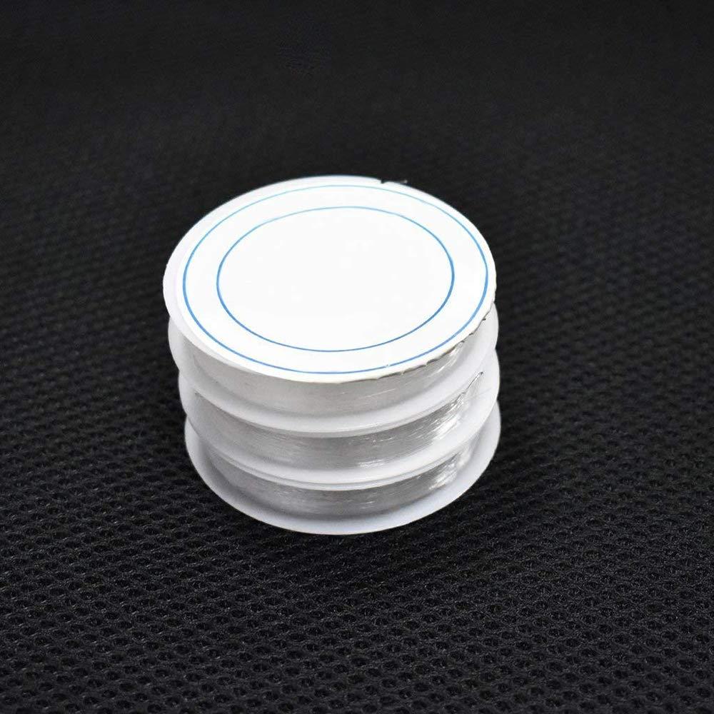 trasparente Conveniente e resistente Vektenxi 0.4mm Braccialetto elastico in cordoncino artigianale Cordoncino in cristallo Accessori per gioielli fai-da-te 3 Rotolo