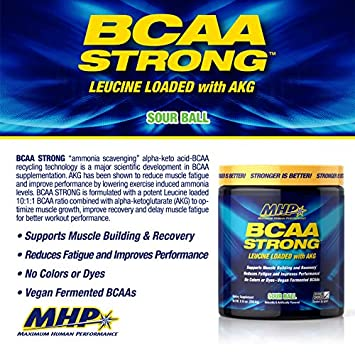 MHP BCAA Strong Pre, Intra, Post Workout Drink, Natural Fermanted Amino Acids, Leucine, Muscle Recovery, Sour Ball, 30 Servings