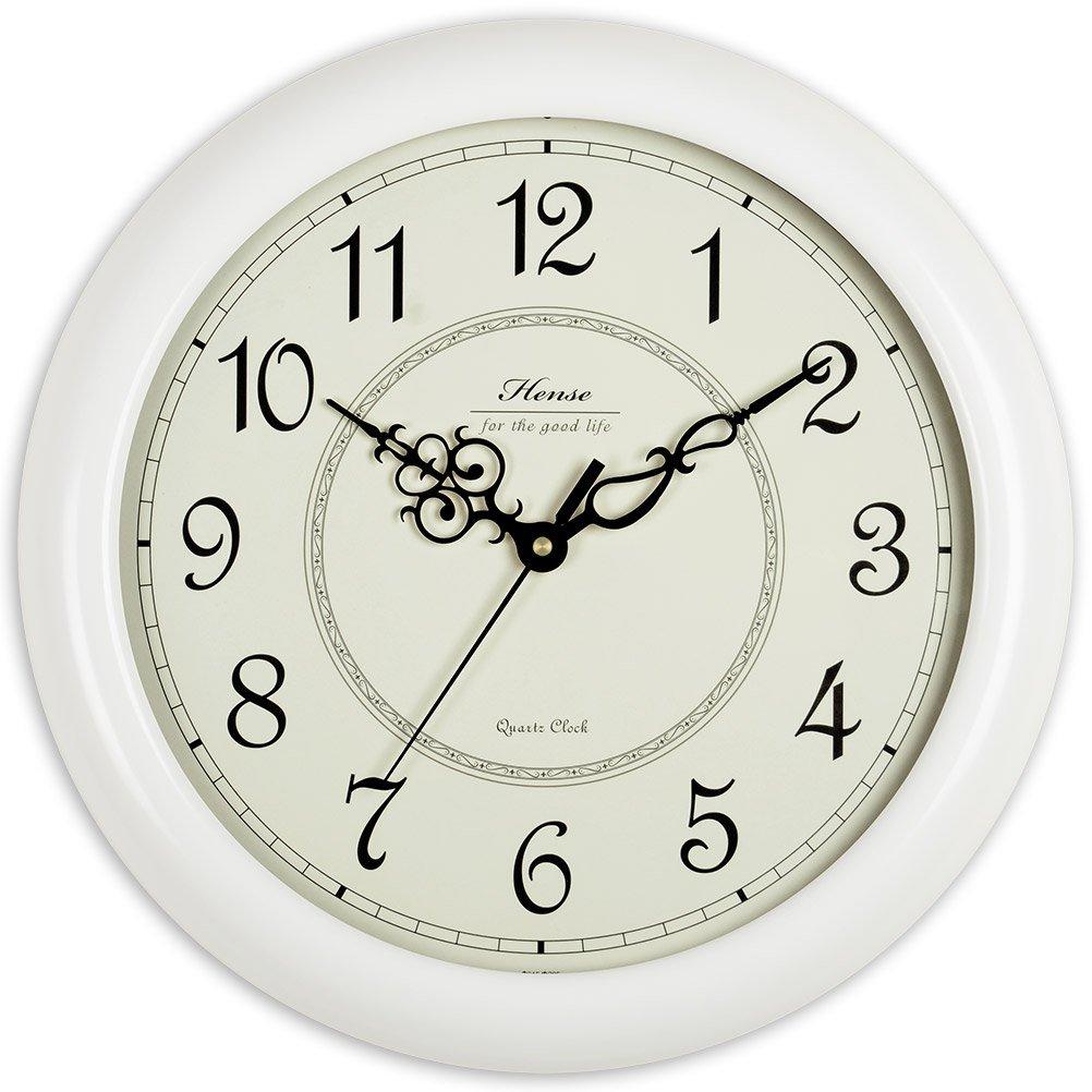 Hense clocks(ハンセ) アンティーク おしゃれ 消音 大型 木枠 連続秒針 静か 音がしない 時計 掛け時計 白い 15インチ B01EMHXJA4白い