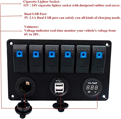 3 Gang Electric Led Toggle Rocker Switch Panel W// 1 Power Socket fit Boat//Marine