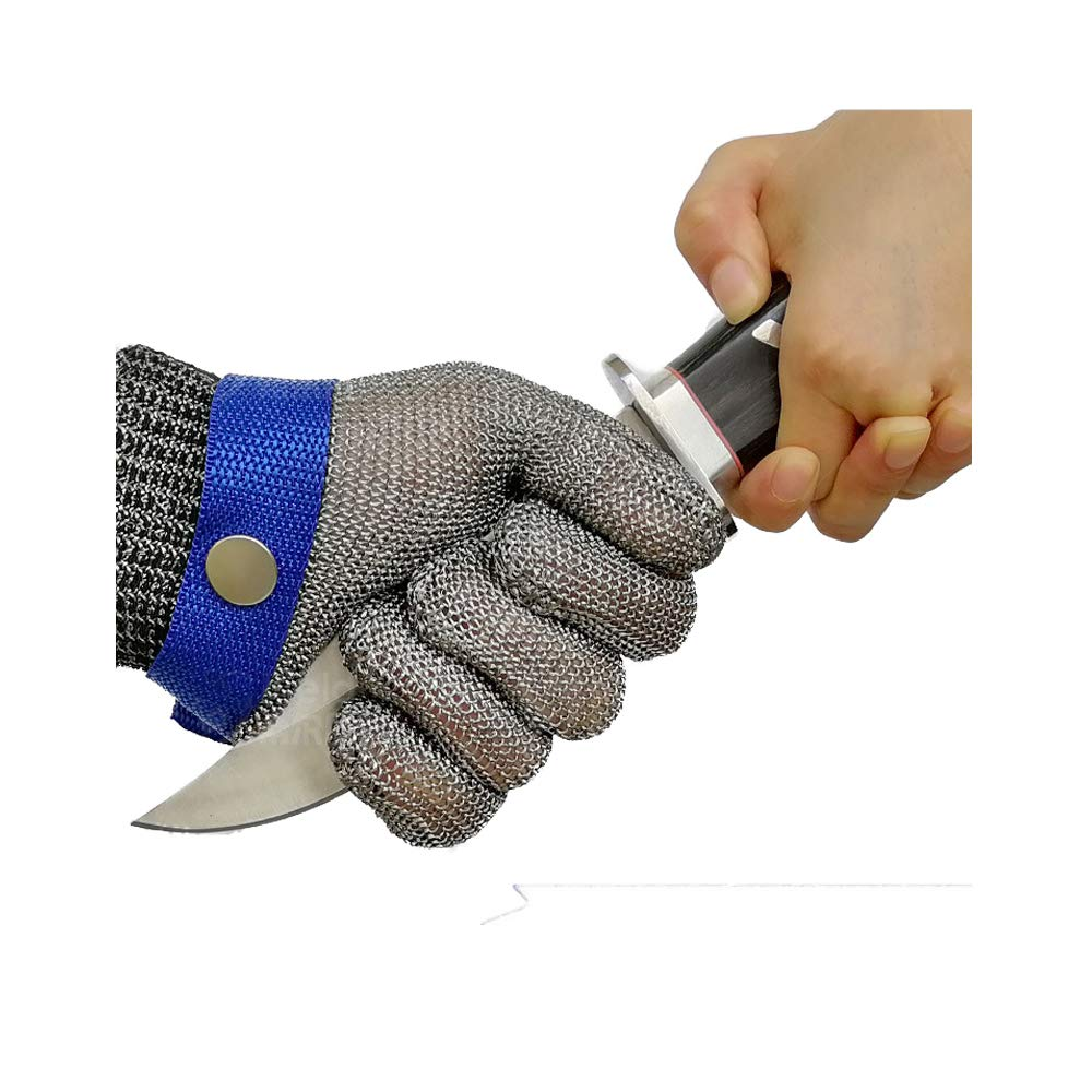 Schwer Cut Resistant Gloves-Stainless Steel Wire Metal Mesh Butcher Safety Work Glove for Meat Cutting, fishing (Large)