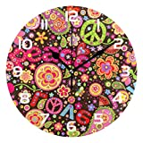 Dozili Paisley Flower Floral Decorative Wooden Round Wall Clock Arabic Numerals Design Non Ticking Wall Clock Large for Bedrooms, Living Room, Bathroom