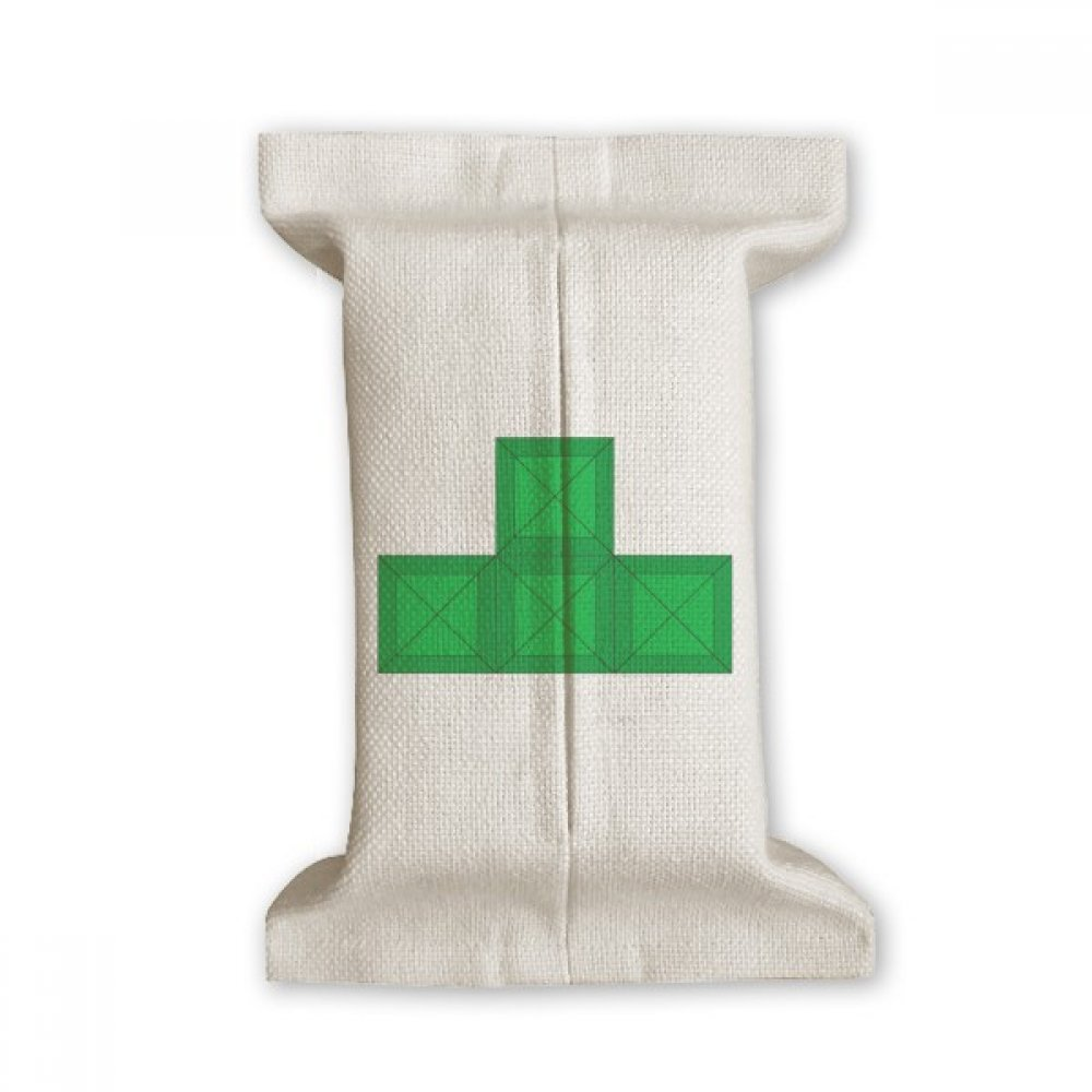 DIYthinker Classic Games Tetris Green Block Tissue Paper Cover Cotton Linen Holder Storage Container Gift
