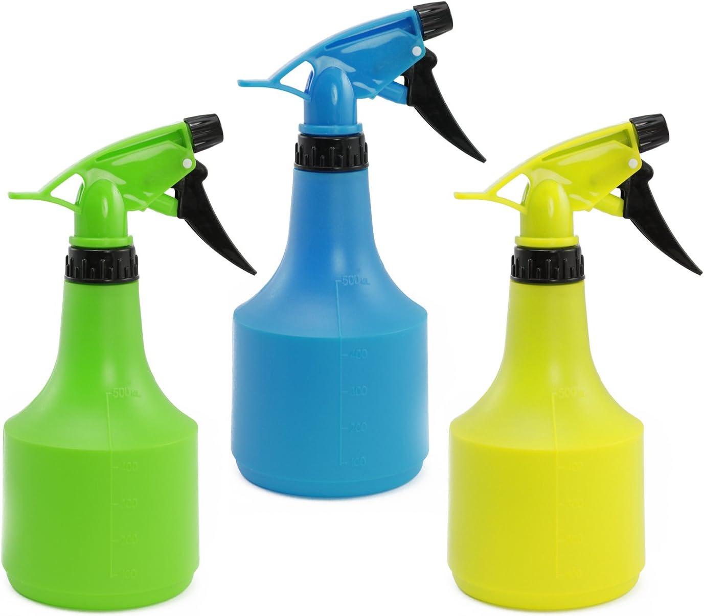 com-four® Pulverizador de Flores 3X en Colores Vivos de al Menos 0,5 litros, para peluquerías o para regar Tus Plantas (3 Piezas 0.5L de Colores)
