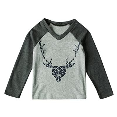 CMrtew Kids 1-5 Years Boys Deer Print Christmas Tops T-shirt Clothes Outfits