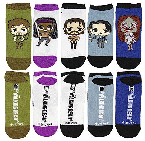Walking Dead Chibi Characters  5  Pair Low Cut Ankle Socks Size 4 10