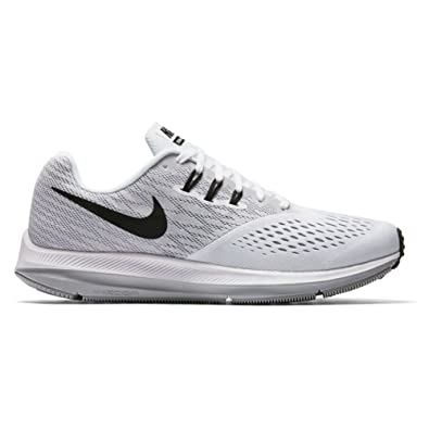 Nike Mens Zoom Winflo 4 Running Shoes White/Black/Wolf Grey