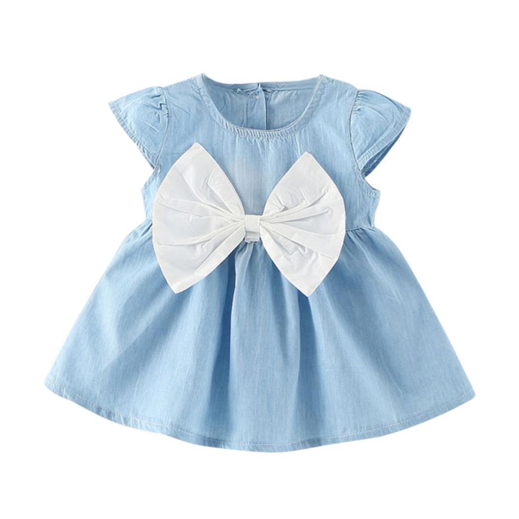 ❤️ Manadlian Beb/é Ni/ña Flor Impresi/ón Sin mangas Mezclilla Vestidos Vestido para Beb/és Ropa Impresa de camisa Vestido de ni/ñas