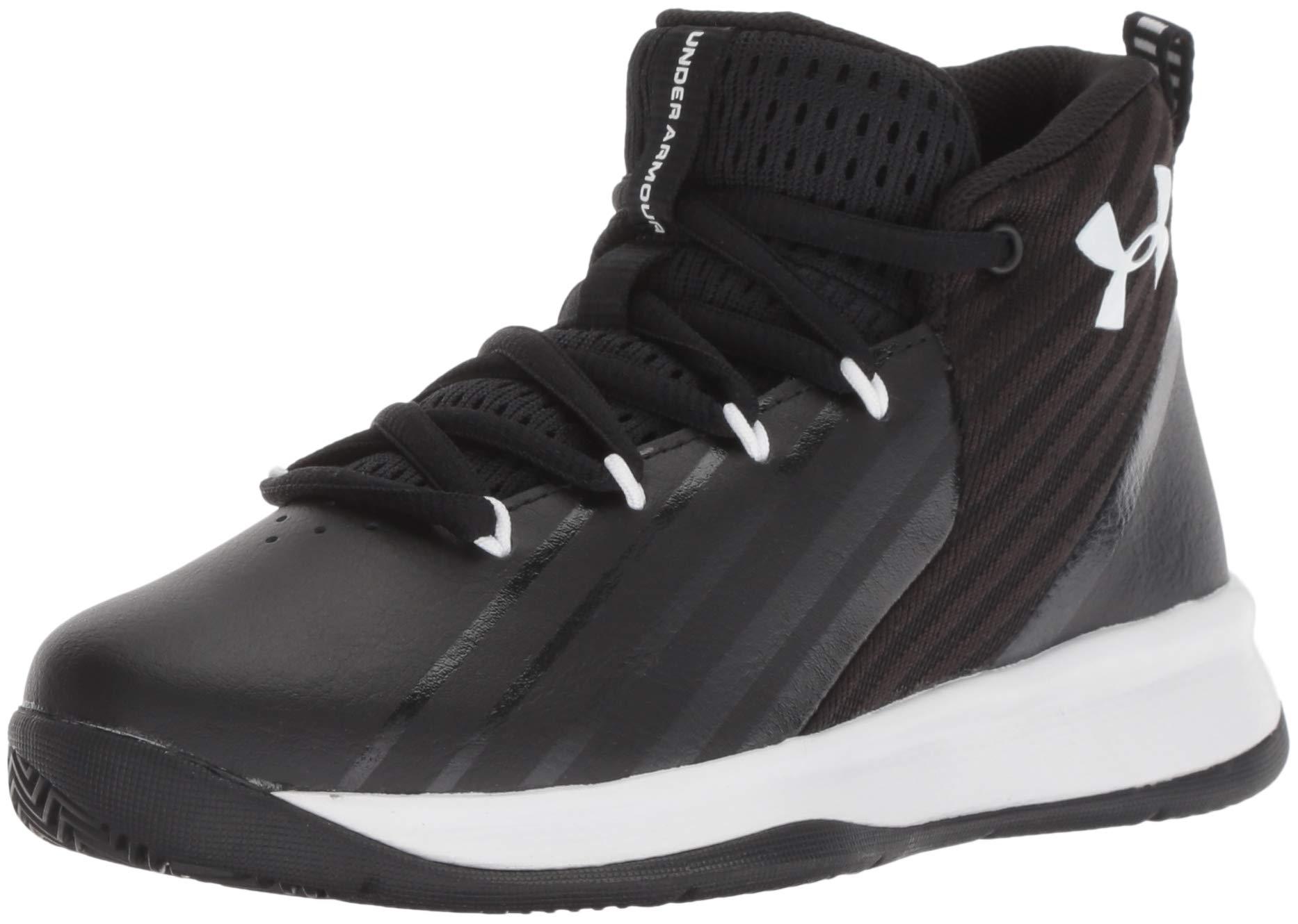 Under Armour Boys' Pre School Launch Basketball Shoe, Black (002)/White, 2
