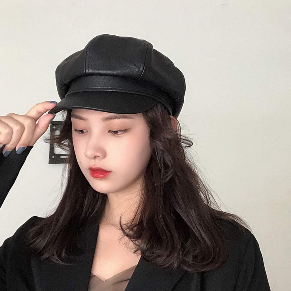 MZHAOANHE Hat,female autumn and winter newspaper hat,painter hat,duck tongue beret hat,PU leather octagonal hat