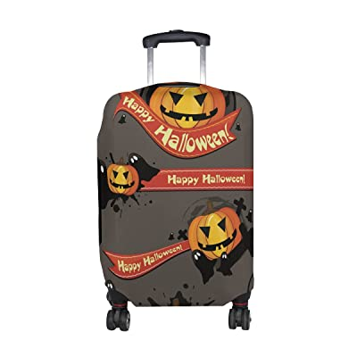 LORVIES Halloween Pumpkins Print Travel Luggage Protective Covers Washable Spandex Baggage Suitcase Cover - Fits 18-32 Inch