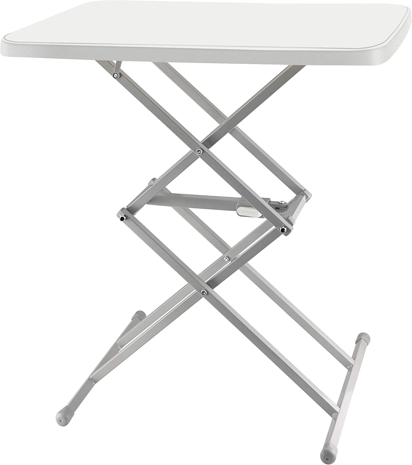 SOUNDANCE Adjustable Folding Table, Lightweight and Portable TV Tray, Sturdy Dinner Tables for Eating, Easy to Fold and Put Away, Zero Assembly Required Desk for Indoor and Outdoor Use, White