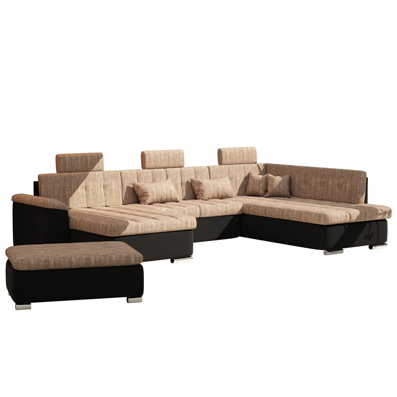 polstergarnitur presto iii polsterhocker ecksofa mit schlaffunktion und kopfst tzen couch. Black Bedroom Furniture Sets. Home Design Ideas